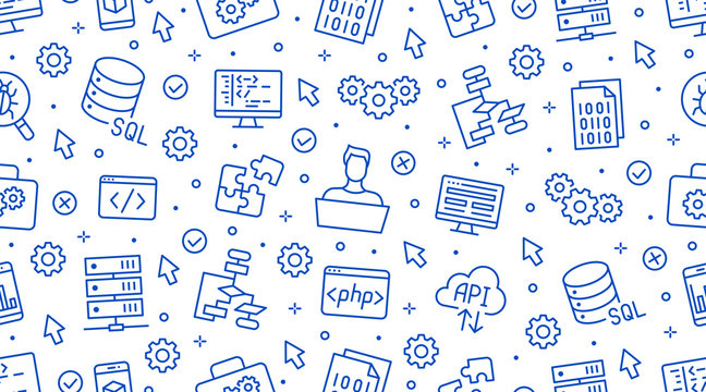 Software development seamless pattern with flat line icons. Programming language background, application, api, computer program develop vector illustration. Outline wallpaper for website design