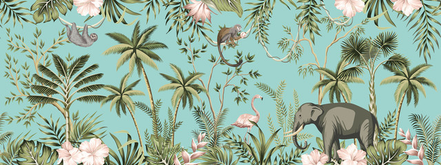 Tropical vintage botanical landscape, hibiscus flower, palm tree, plant, palm leaves, sloth, monkey, elephant, flamingo floral seamless border turquoise background. Jungle animal wallpaper.