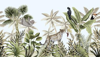 Naklejka premium Tropikalny krajobraz botaniczny vintage, palmy, drzewo bananowe, rośliny, dzikie zwierzęta