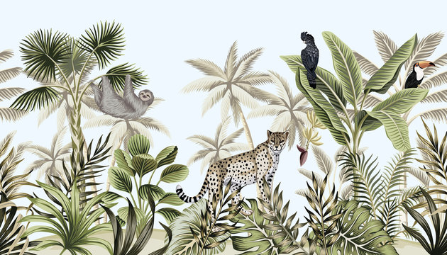 Tropical vintage botanical landscape, palm tree, banana tree, plant, wild animals leopard, sloth, toucan, parrot floral seamless border blue background. Exotic green jungle wallpaper.