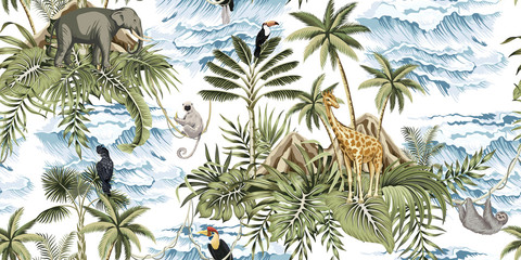 Tropical vintage botanical island, palm tree, mountain, palm leaves, elephant, giraffe, sloth, lemur, sea wave summer floral seamless pattern white background.Exotic jungle wallpaper.