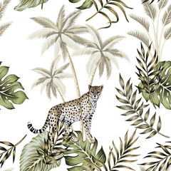 Tropical vintage botanical landscape, palm tree, palm leaves, leopard animal floral seamless pattern white background. Exotic jungle animal wallpaper.
