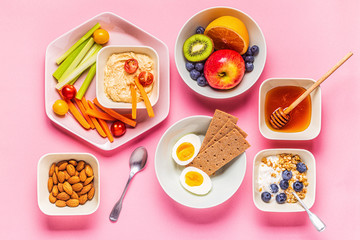 Healthy snack on a pastel background.