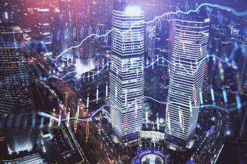 Aluminium Prints Shanghai Financial chart on city scape with tall buildings background multi exposure. Analysis concept.