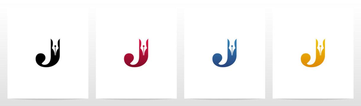 Pen Head On Letter Logo Design J