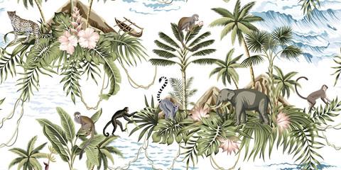 Fototapeta Tropical vintage botanical island, palm tree, mountain, palm leaves, hibiscus flower, elephant, monkey,sloth, leopard, lemur, summer floral seamless pattern white background.Exotic jungle wallpaper.