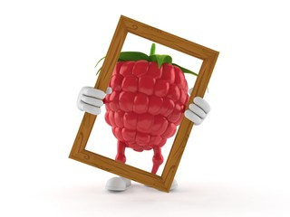 Raspberry character holding picture frame