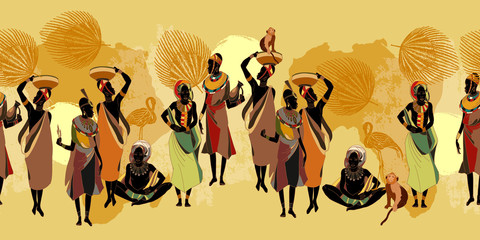 African women in national clothes horizontal seamless pattern. Beautiful black females. Tribal art. People of South Africa, vector illustration Fototapete