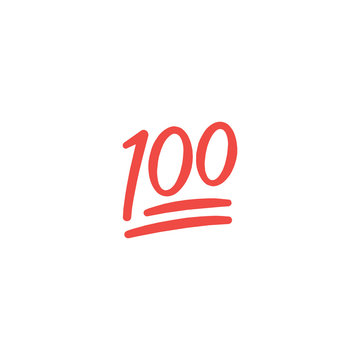 100 point flat vector Icon. Isolated one hundred point emoji illustration