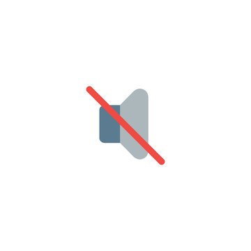 Mute sound flat vector Icon. Isolated silent mode, no audio emoji illustration