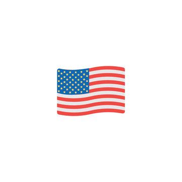 USA flag flat vector Icon. Isolated American Waving Flag emoji illustration