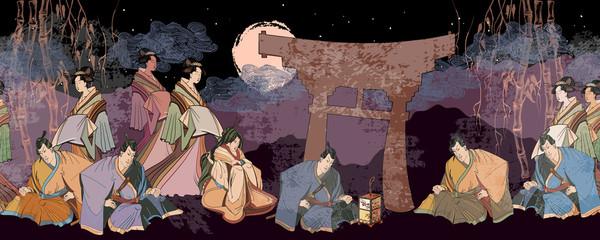 Japanese horizontal seamless pattern. Kabuki actors. Medieval Japan background. Samurai and geishas. Ancient illustration. Classical engraving art. Asian culture