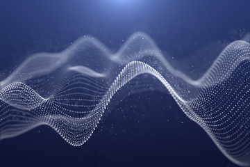 Illustration of Futuristic Abstract Background,Particle shape of waves white color on dark blue Background,motion graphics digital design for Business technology and science concept