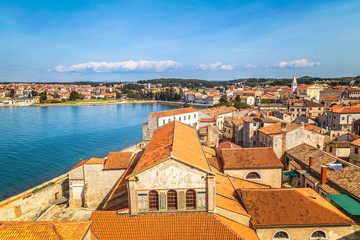 Top view on the historic center of Porec town and sea, Croatia, Europe.