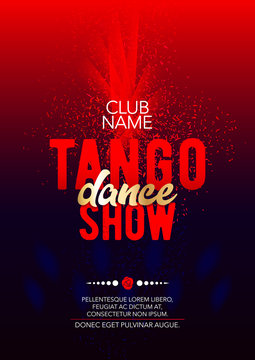 Vertical tango dance show template with bright background, color graphic elements and text.