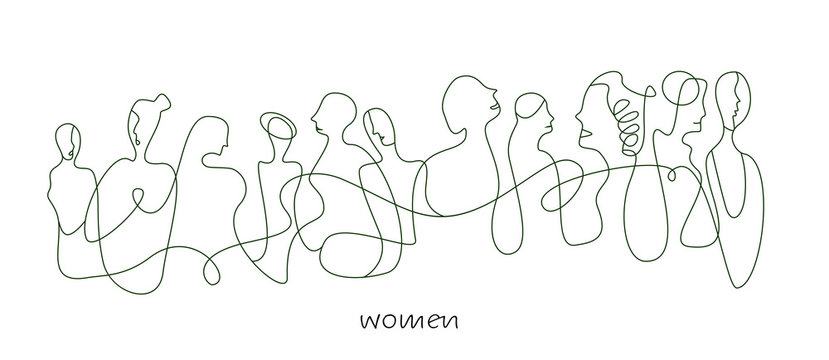 women concept in modern creative style, women are different concept on the white background,