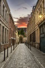 Street in Paris at Dusk with Beautiful Illuminated Lamps