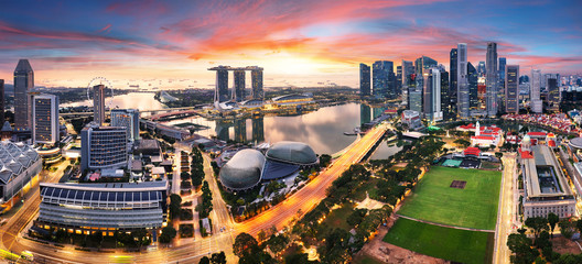 Wall Mural - Singapore city panoranora at sunrise with Marina bay