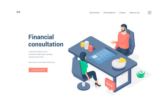Woman sitting on chair and receiving money management advice from man amidst charts on isometric vector illustration