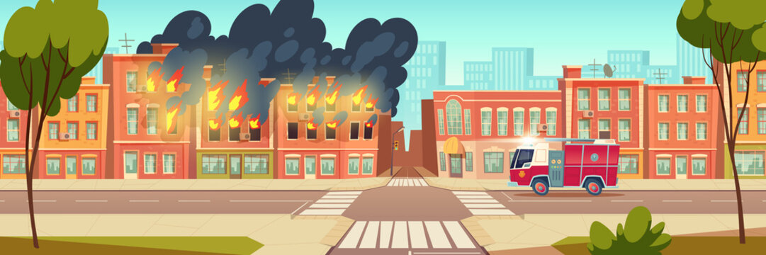 Fire in city house and fire truck on town road. Vector cartoon urban landscape with burning building, flame with black smoke and red emergency rescue vehicle