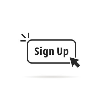 linear simple black sign up button