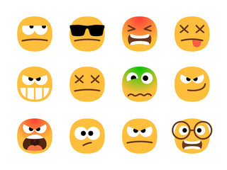 Anger emoticons. Angry emoji set, shocked and resentful, suspicious and malevolent, furious and dead cartoons design emotion signs on white