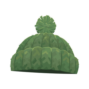 Green knitted winter warm hat with pompom