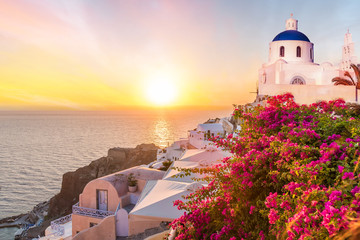 Wall Mural - Landscape with amazing sunset in Santorini islands, Greece