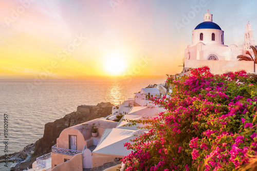 Wall mural Landscape with amazing sunset in Santorini islands, Greece