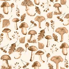 Seamless watercolor pattern, background with a picture of forest mushrooms, berries, autumn leaves, plants. lingonberry, cranberry, blueberry. Vintage illustration for a variety of designs.