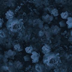 In de dag Kunstmatig Roses and garden flowers. Floral vintage seamless pattern. Navy blue color.