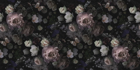 Poster de jardin Artificiel Beautiful pink roses and garden flowers. Floral vintage seamless pattern.