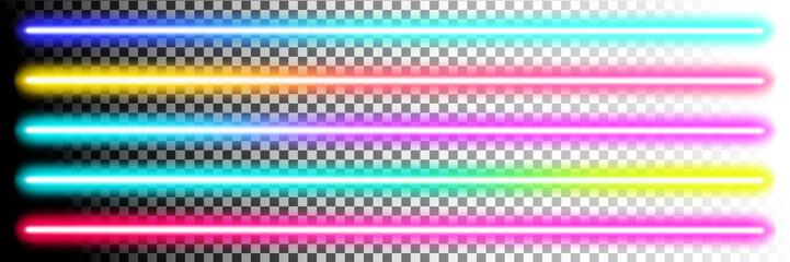 Fototapeta Fluorescent sticks. Glowing iridescent neon lights for both light and dark backgrounds obraz