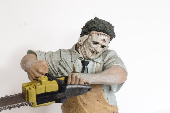 london, england, 05/05/2018 Texas chainsaw massacre large 18 inch collectable action figure. Leatherface.Jedidiah Sawyer wielding a chainsaw. Scary Horror movie halloween film.