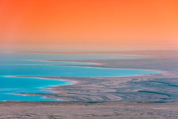 Fototapete - Sunrise over Dead Sea. Beautiful sea nature landscape