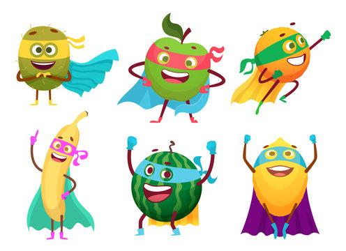 Superheroes fruits. Vegetables healthy food mascot heroes costumes orange garden apple berry vector characters. Fruit superhero, hero with superpower, banana or apple illustration