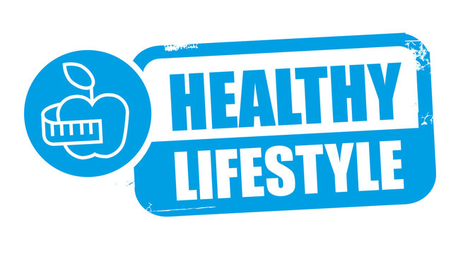 Stamp healthy lifestyle vector illustration