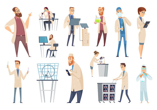 Science persons. Characters doctors lab technician workers biologists or pharmacists vector people. Illustration scientist biology, man in lab, technician and chemistry