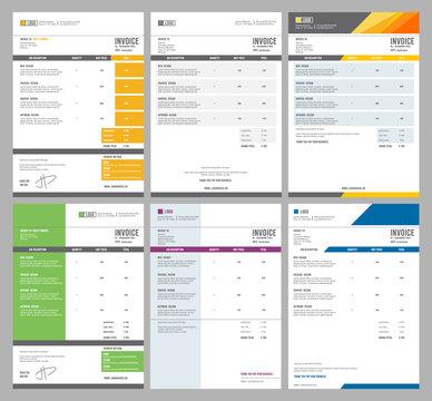 Invoice templates. Eform receipt money agreement vector design collection. Invoice account receipt, calculation file payment document illustration