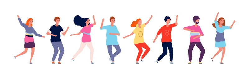 Dancers. Adult people jumping and dancing in line party happy group of characters vector illustration on white