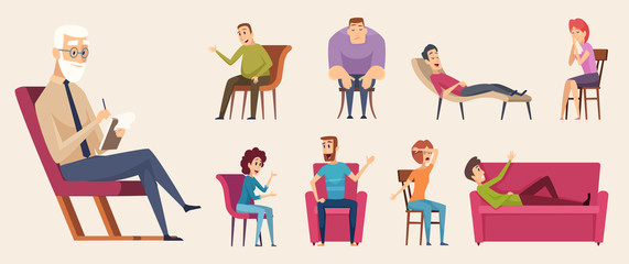 Psychotherapy consulting. People dialogue crowd conversation with psychology consultant family therapy vector. Illustration psychotherapy and consultation psychology