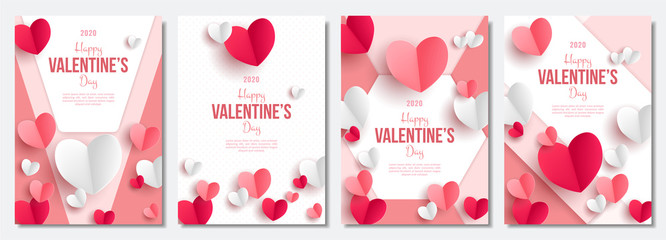 Valentine's day posters set. 3d red and pink paper hearts with frame on geometric background. Cute love sale banners or greeting cards. Vector illustration.  Fototapete