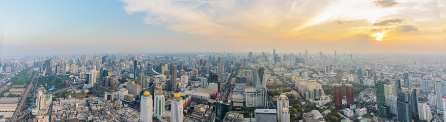 panorama of Bangkok, the capital of Thailand at sunset. evening time