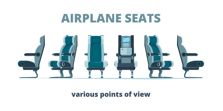 Airplane seat. Aircraft interior armchairs in different side view vector flat pictures. Illustration seat interior aircraft, comfort chairs