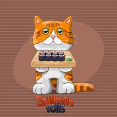 Cat with salmon rolls.  Vector Illustration