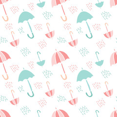 Cute and colorful vector umbrella seamless pattern with rain for kids clothing and paper products. White background, pastel colors. Illustration
