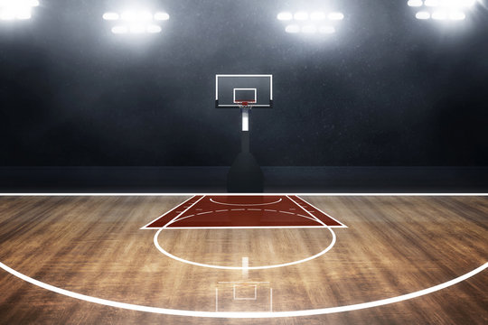 Professional basketball court arena background