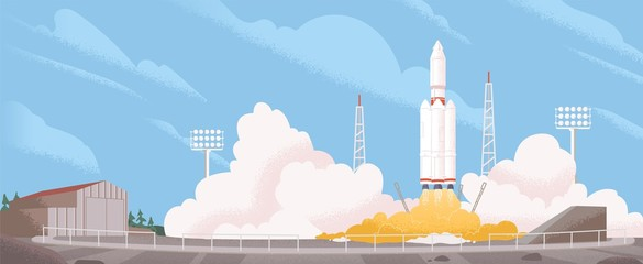 Spaceship start cartoon vector illustration. Heavy rocket carrier taking off, launching satellite or international station on Earth orbit. Space exploration and modern technology concept.