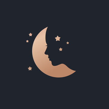 Beautiful moon logo with female face template vector