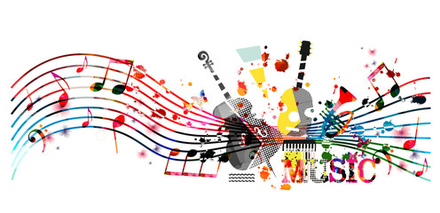 Colorful music promotional poster with music instruments and notes isolated vector illustration. Artistic abstract background for music show, live concert events, party flyer design template